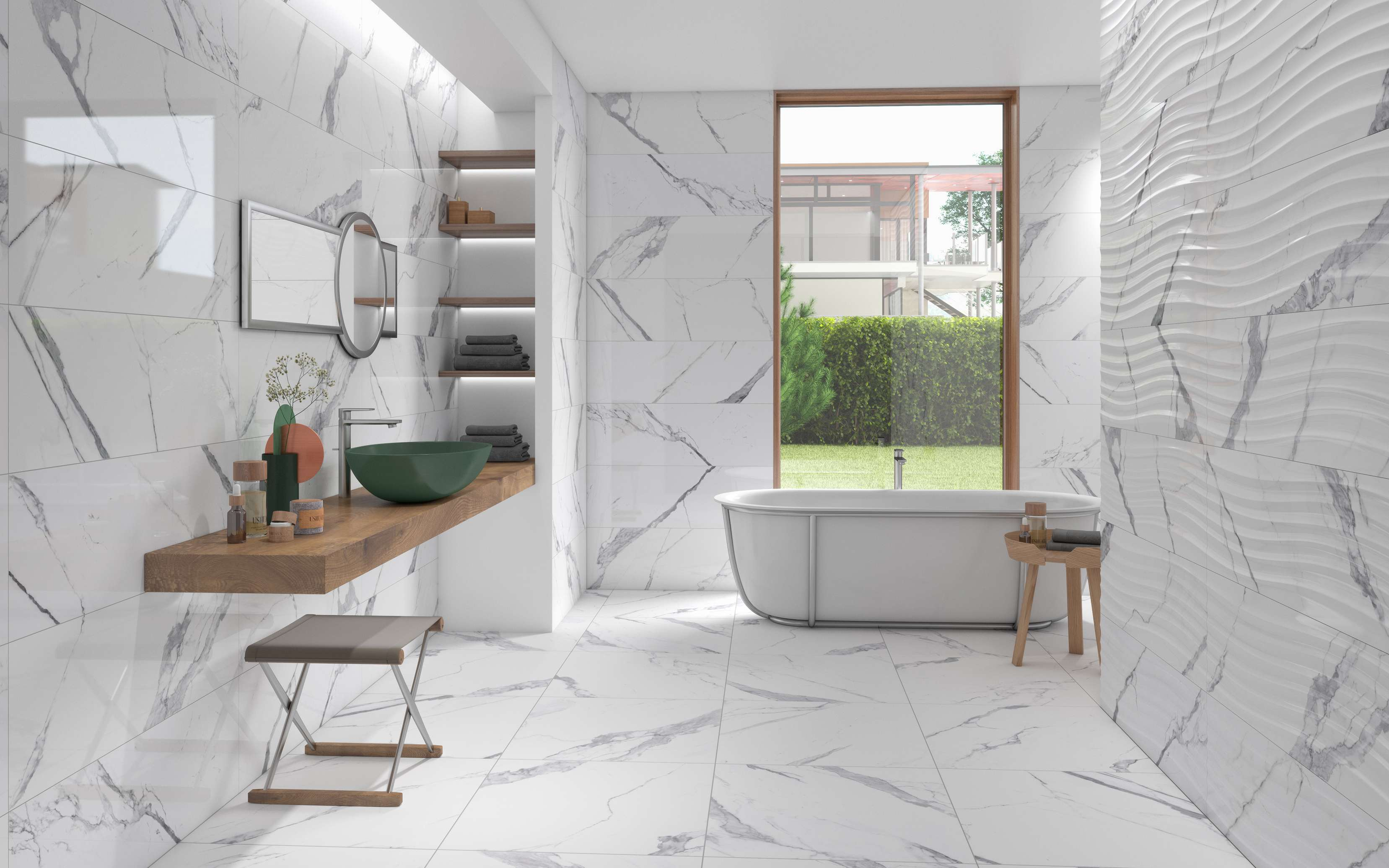 NATURAL DETAILS FOR A SOLUTION THAT INTERPRETS, IN A SOPHISTICATED WAY, THE LUXURY OF MARBLE.